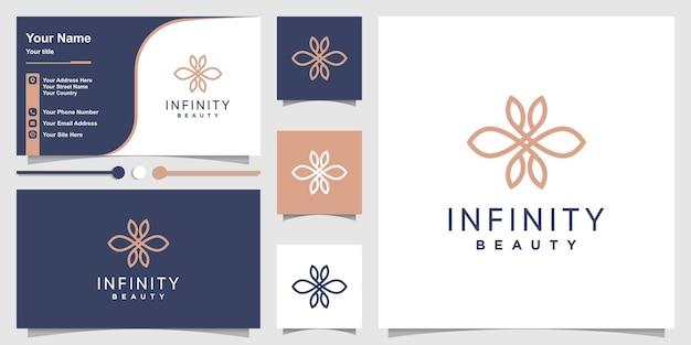 創造的なラインアートのコンセプトプレミアムベクトルと無限の美しさのロゴのテンプレート