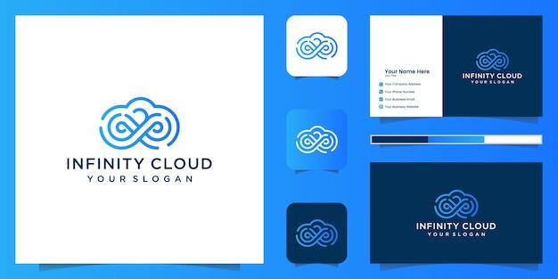 インフィニティクラウドのロゴデザインアイコンテンプレート。クラウド技術のロゴデザインと名刺