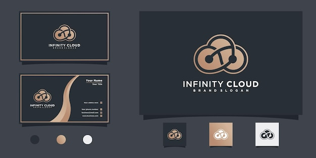 독특한 라인 인피니티 컨셉과 명함 디자인의 인피니티 클라우드 로고 디자인 프리미엄 벡터