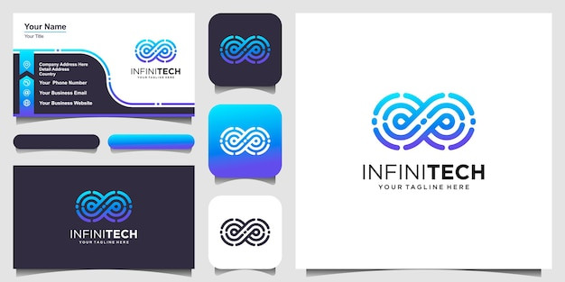 Infinity digital technology logo design looped linear vector template.