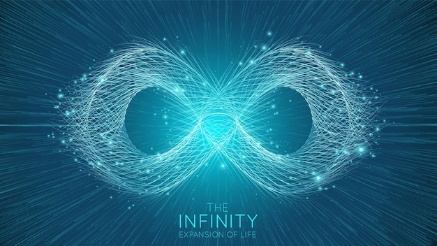 Infinity expansion of life. infinity sign explosion