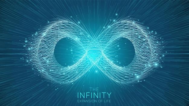 Espansione infinita della vita. esplosione del segno dell'infinito