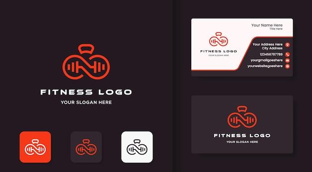 アウトラインコンセプトと名刺を使用したインフィニティフィットネスロゴデザイン