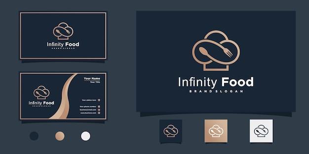 현대 음식 기호 라인 아트 스타일과 명함 디자인으로 무한 식품 로고 디자인 영감 premium vector
