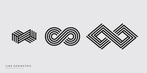 無限の幾何学的なロゴタイプセット。トレンディなミニマルなデザイン。