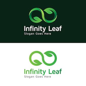Infinity leaf natural logo design template