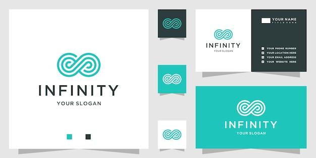 끝없는 네거티브 공간과 라인 아트 스타일의 인피니티 로고 디자인