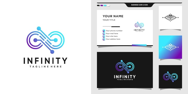 Infinity logo with gradient tech style and business card design