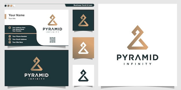 Infinity logo with modern creative triangle concept premium vector