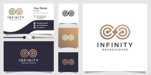 Infinity logo with unique line art concept and business card design template