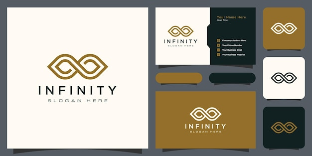 Infinity loop with line art style symbol and business card
