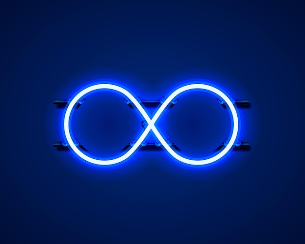 Infinity neon symbol on the blue background. vector illustration