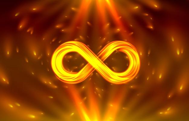 Неоновый символ бесконечности на блестящем оранжевом