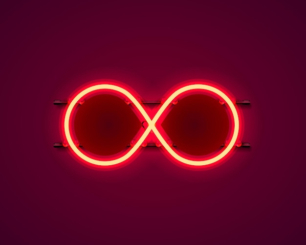 Infinity neon symbol on the red background. vector illustration