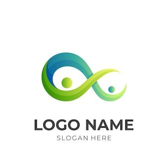 무한대 사람 로고, 사람 및 무한대 기호, 3d 녹색 및 파랑 색상 스타일의 조합 로고