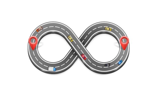 Infinity road location sign art. vector illustration Premium Vector