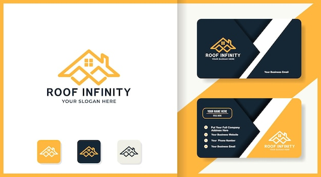 Infinity roof logo design and business card