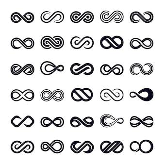 Infinity shape icon vector set