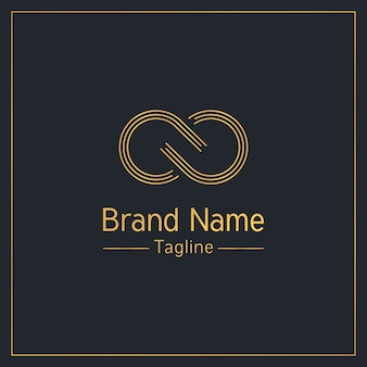 Infinity sign golden elegant logo  template