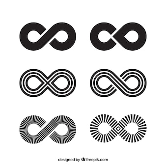 Infinity symbol collection in black color