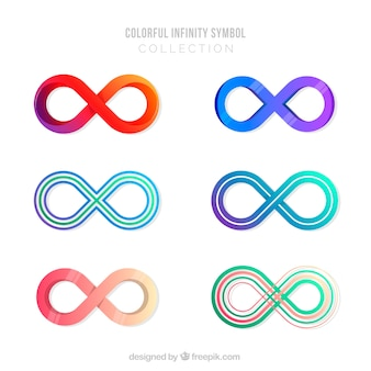 Infinity symbol collection with colors