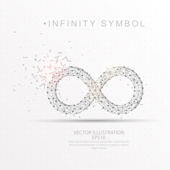 Infinity symbol shape digitally drawn low poly wire frame