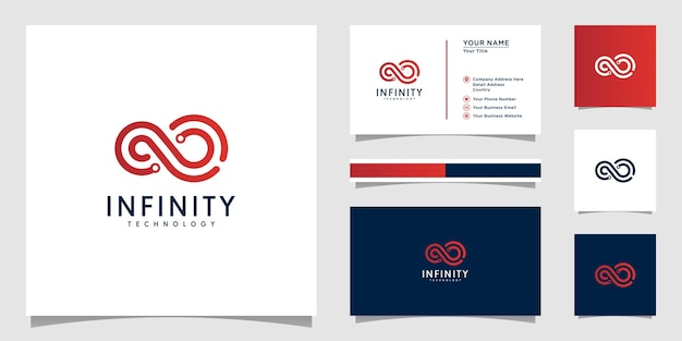 Infinity tech logo with line art style and business card design template outline color gradient tech template