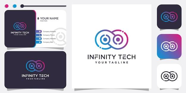 Infinity technology logo idea with gradient line style premium vector