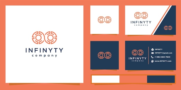 Infinity technology logo with line art style and business card design.