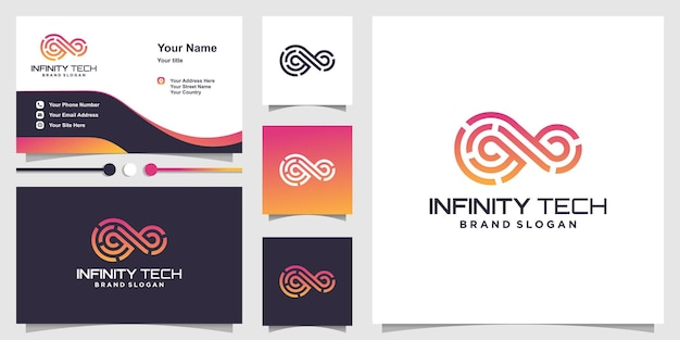 Infinity technology logo with modern abstract concept premium vector