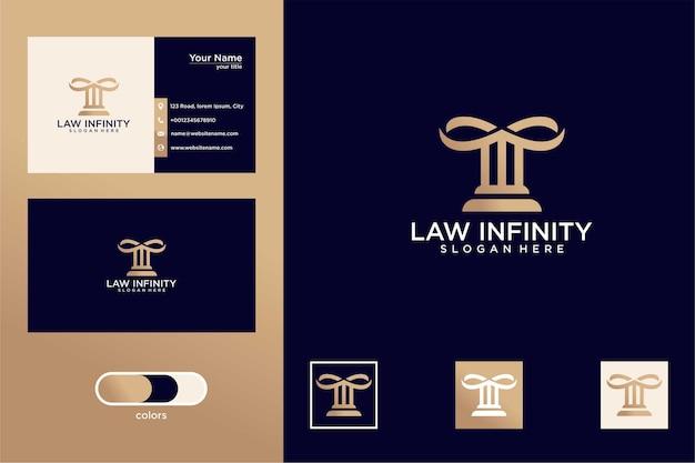 Бесконечность с легальным дизайном логотипа и визитными карточками