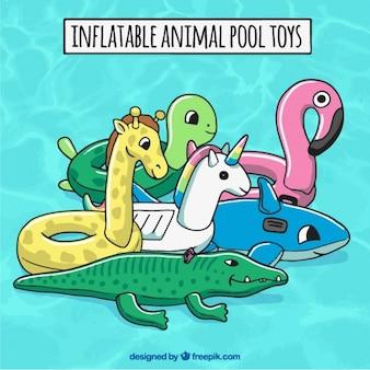 Надувные игрушки животных бассейн Бесплатные векторы