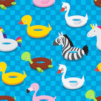 Inflatable animal rubber toys in swimming pool. swim float rings summer vector seamless pattern