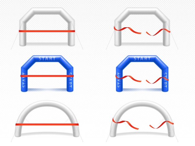 Надувная арка с красной лентой для спортивных мероприятий