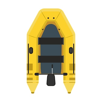 Inflatable boat top view. yellow water travel river ship