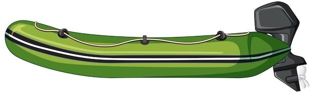 白い背景の上のエンジンとインフレータブルボート