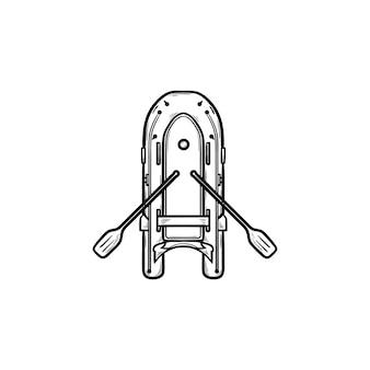노 손으로 그린 개요 낙서 아이콘이 있는 풍선 보트. 고무 보트와 낚시, 휴가 및 취미 개념