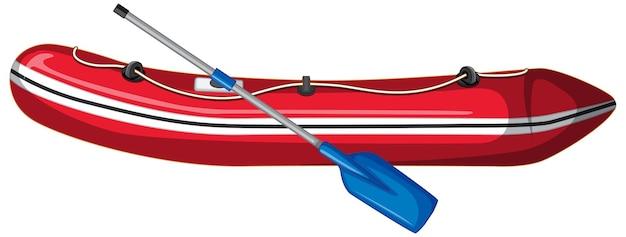 白い背景の上のオールとインフレータブルボート