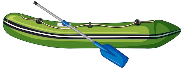 Inflatable boat with oars on white background