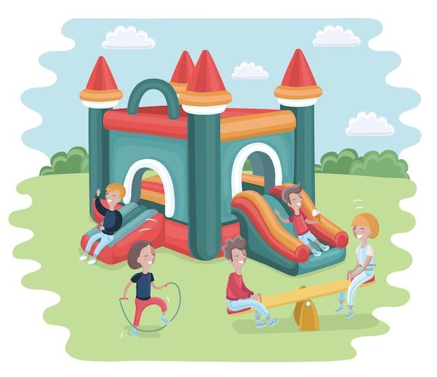 Inflatable castle trampoline vector flat cartoon illustration