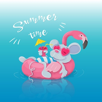 Inflatable circle in the form of a flamingo and a mouse resting on it with a cocktail.