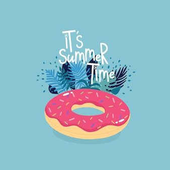 Inflatable donut surrounded by tropical leaves with lettering it's summer time on the blue background.