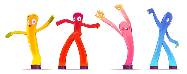 Inflatable figures, dancing colorful men with funny faces, legs and arms.