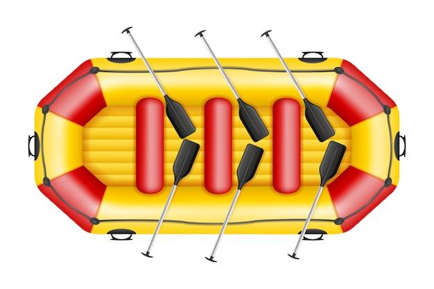 Inflatable rafting boat.