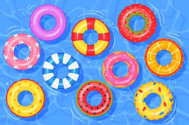 Inflatable rings on water top view swimming pool with floating rubber kids toys lifebuoy vector