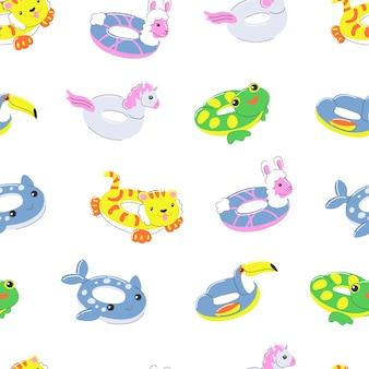 풍선 고무 수영 반지 원활한 패턴 여름 물 해변 장난감 원 형태 라마
