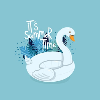 Inflatable swan surrounded by tropical leaves with lettering it's summer time on the blue background