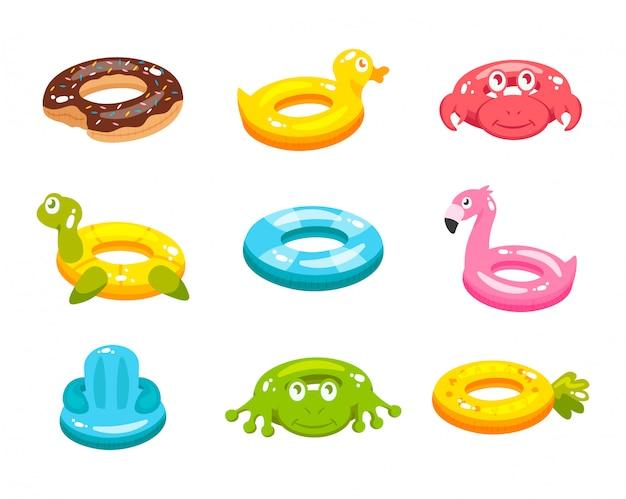Inflatable swim ring animal and food