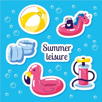 Inflatable swimming float set. beach party summer stickers