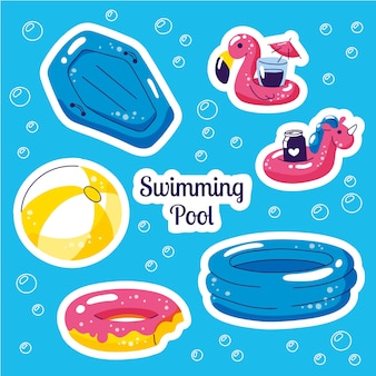 Inflatable swimming float set. beach party vector summer stickers